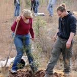 Volunteers plant trees at Eglin Air Force Base.