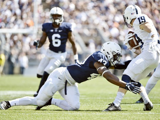 """Linebacker Manny Bowen (43) must grow up quickly as a new starter. The potential is there, said coach James Franklin. """"Just fast, explosive, violent, aggressive. Really seen a lot of those things since he's been here and probably even more so in the last six months, as he's getting more comfortable and getting more confident."""""""