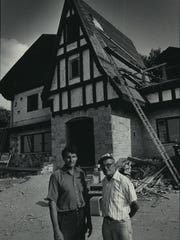 Hans Weissgerber Jr. (left) and his father, Hans Sr., stand outside their Waukesha restaurant in 1983. The German-restaurant Weissgerber's Gasthaus closed in 2016.