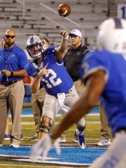 MTSU's quarterback Brent Stockstill (12) warms up with some passes before the game against UTEP, on Saturday, Nov. 4, 2017, at MTSU, after being hurt on the sidelines for several games.