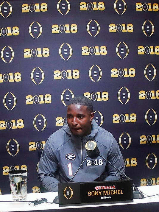 Georgia running back Sony Michel speaks during media day, Saturday, Jan. 6, 2018, in Atlanta. Georgia and Alabama will be playing for the NCAA football national championship on Monday, Jan. 8. (AP Photo/John Bazemore)