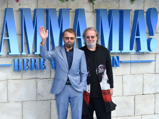 Bjorn Ulvaeus and Benny Andersson of ABBA pose on the