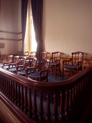 A file photo of the jury box in the Storey County Courthouse in Virginia City.