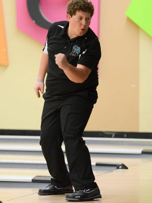 Bayside's Kyle Bockman reacts to a strike during a match at Shore Lanes Palm Bay.