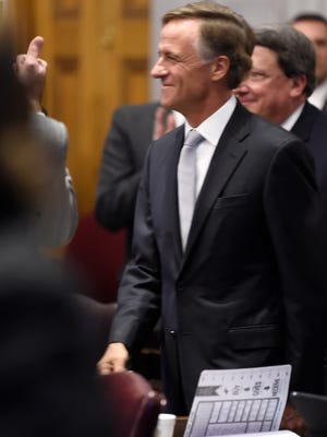 Gov. Bill Haslam enters the House chambers before delivering his State of the State address at the Tennessee State Capitol Monday, Jan. 29, 2018 in Nashville, Tenn.