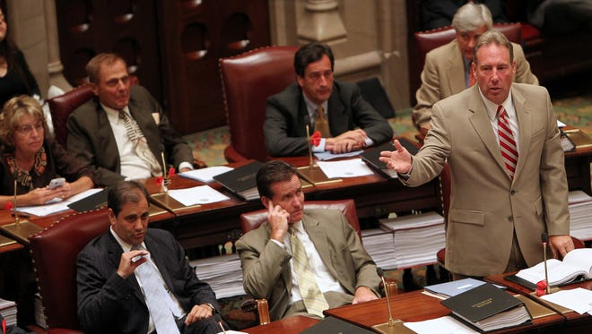 Sen. Joseph Robach, R-Greece, speaks during a special session of the Legislature in 2010.
