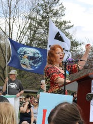 Kathyrn Blume of 350 Vermont, got the crowd going as