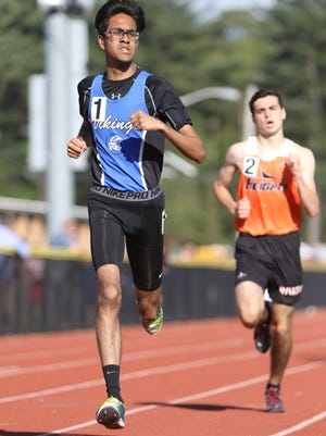 Sirish Modhagala of North Arlington, shown on his way to victory in the 1,600 meters at the NJIC Track & Field Divisional Championships last spring, won his race Wednesday in 17:18, four days after running a personal best of 16:56 at Darlington.