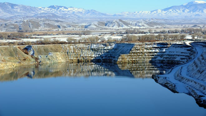 The old Anaconda mine pit is partially filled with water near Yerington.