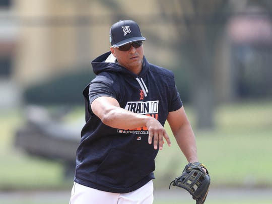 Tigers DH Victor Martinez goes through drills during the first full team workout in spring training on Feb. 18, 2017, at Publix Field at Joker Marchant Stadium in Lakeland, Fla.