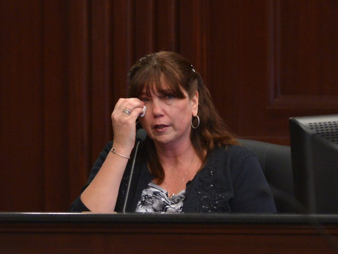 Witness Rhonda Rouer, Michael Dunn's girlfriend testifies on the stand during the 3rd day of the murder trial of Michael Dunn.