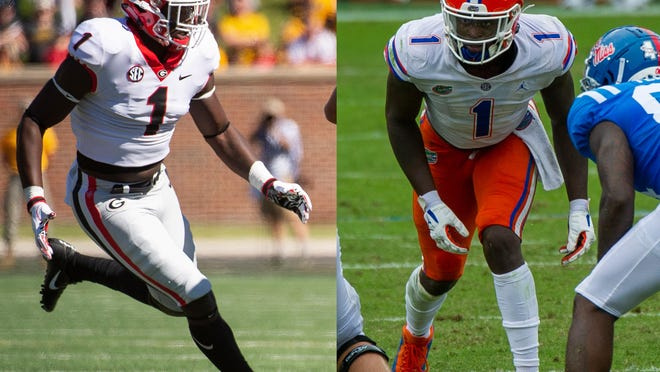 Brenton Cox in 2018 for Georgia and in 2020 for Florida. (Photos by the Associated Press and USA Today).