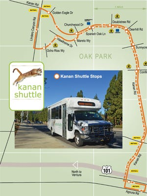 The Kanan Shuttle, a fixed-route bus service that runs between Agoura Hills and Oak Park, will remain free for fiscal year 2017-18 thanks to a $25,000 contribution from Agoura Hills.