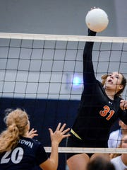 Central York's Sydnie Johnson, seen here in a file photo, had 20 kills on Saturday vs. Hempfield.