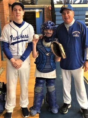 Former RU baseball coach Bob Miller, Jr. (right) and player Jackson Allison (left) worked a clinic last year for area little leaguers.