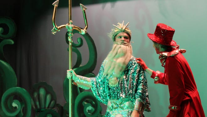 "Sebastian (Corban Gililland) pleads his case for Ariel to her father, King Triton (Jared Vos Winkel) in this rehearsal scene from ""The Little Mermaid,"" which will be performed this weekend by the Wylie High School theater department at Cullen Auditorium on the Abilene Christian University campus."