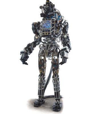 "The image below is of ""Atlas,"" a humanoid robot developed by researchers with the Institute for Human and Machine Cognition in Pensacola as part of a national competition sponsored by the federal Defense Advanced Research Projects Agency (DARPA)."