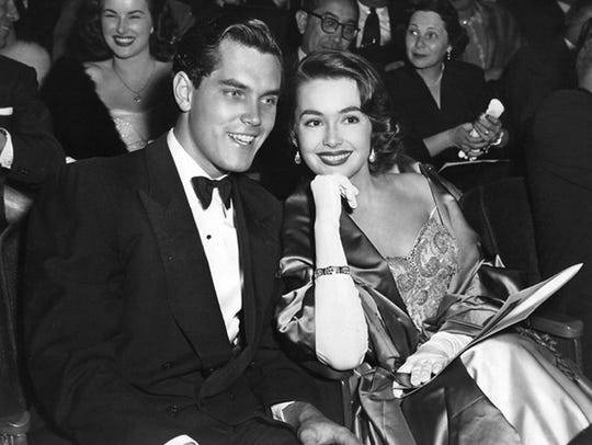 Jeffrey Hunter and Barbara Rush, husband and wife,