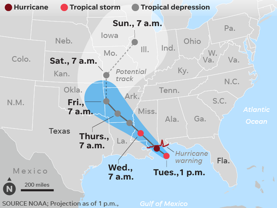The projected path of Tropical Storm Gordon.
