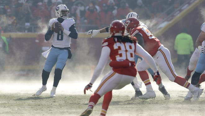 Quarterback Marcus Mariota (8) and the Titans beat the Chiefs in their last visit to Arrowhead Stadium, where kickoff was 1 degree for the Dec. 18, 2016, game.