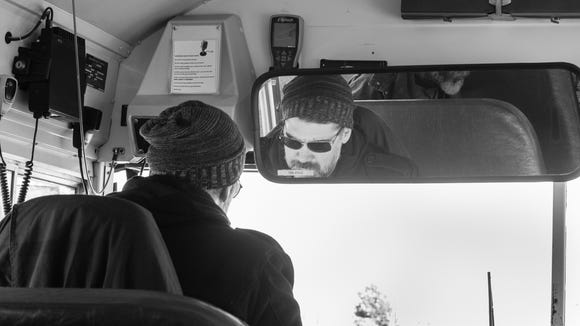 """Jarrod Phillips drives a bus during production of """"The"""