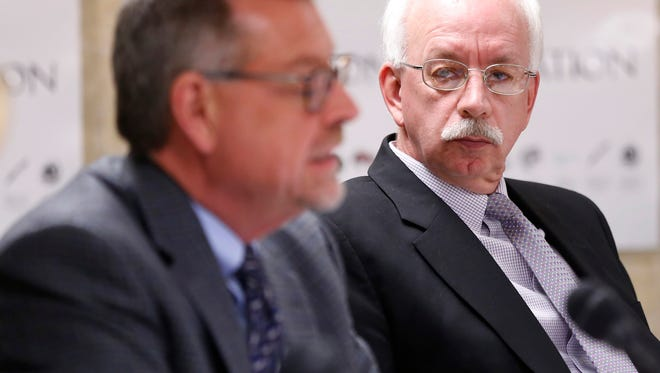 Lafayette School Corp. Superintendent Les Huddle, right, is up for a four-year extension on his contract to lead the school district.