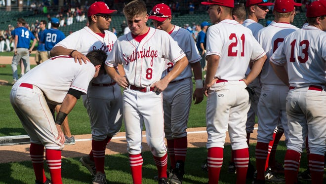 Southridge players react after the Class 2A State Championship game at Victory Field in Indianapolis on Saturday, June 16, 2018. Boone Grove defeated Southridge 5-4.