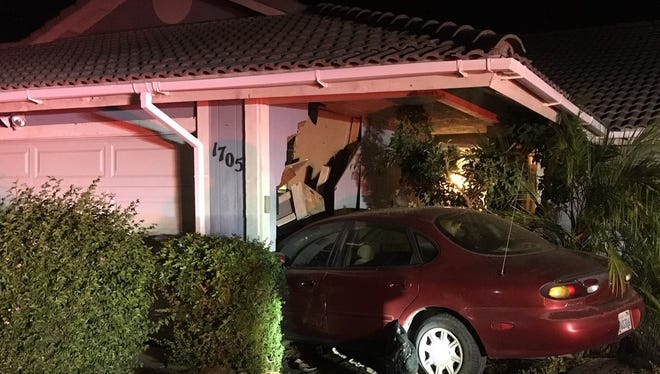 A man was arrested on suspicion of DUI Thursday after crashing his car into the garage of a Santa Paula home, police said.