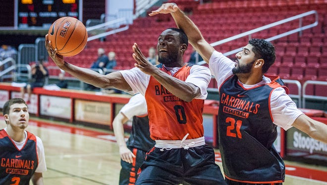Ball State's Francis Kiapway goes up for a shot during practice at Worthen Arena on Friday, Oct. 2, 2015.