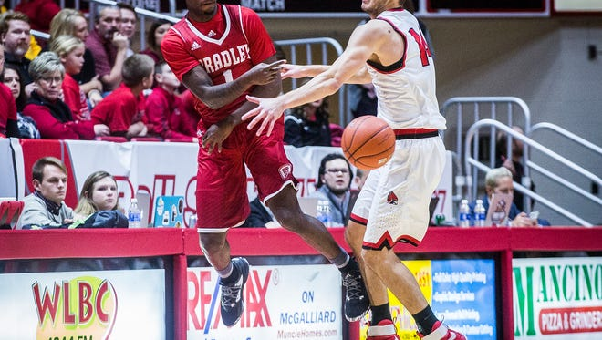 Ball State defeated Bradley 80-63 at Worthen Arena Tuesday, Dec. 6, 2016.