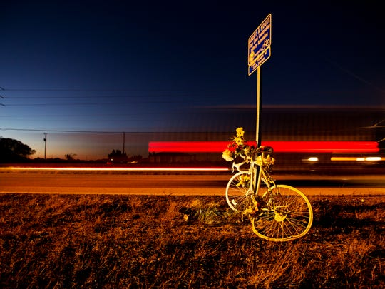 A ghost bike for cyclist Scott Johnsen was placed at the scene where he was killed on Diplomat Parkway in Cape Coral last year. He is one of the 12 cyclists killed in Southwest Florida since January 2014. Florida leads the nation bicycle related deaths.