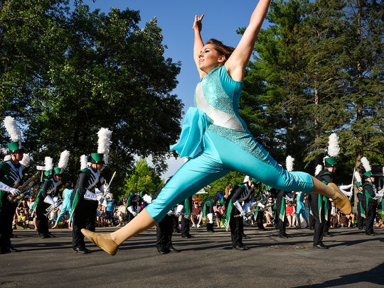 The Sauk Rapids-Rice Marching Storm performs for the