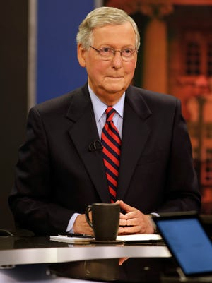 U.S. Senate Minority Leader Mitch McConnell at KET studios in Lexington, Ky., on Oct. 13, 2014.