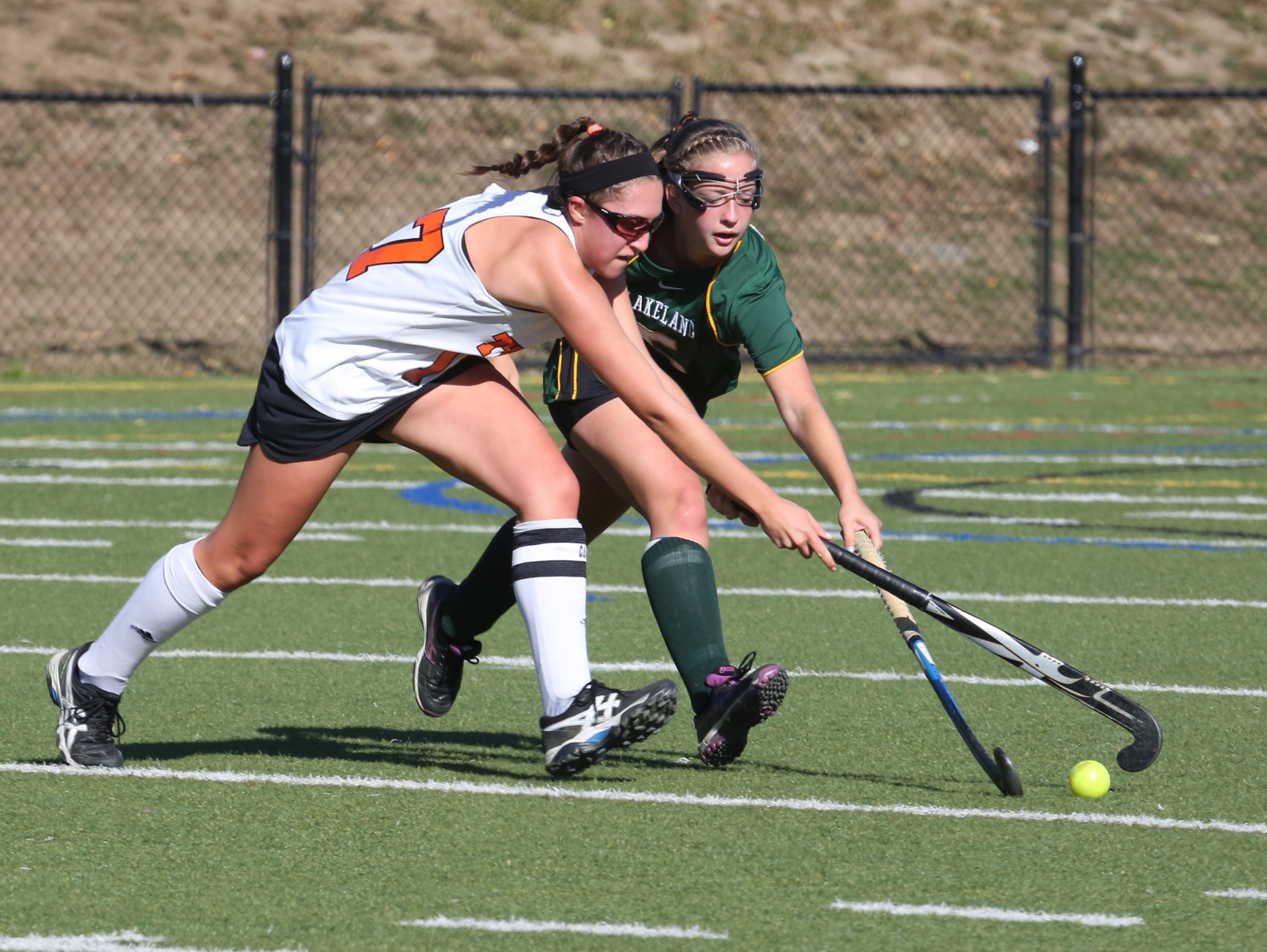 Mamaroneck's Paige Danehy, left, and Lakeland's Kelsey McCrudden battle for the ball during their game at Mamaroneck on Saturday.