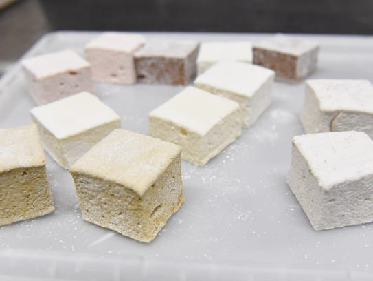 A view of several varieties of marshmallows available