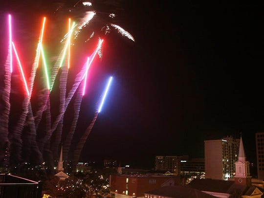 A fireworks display lights up the night sky on New Year's Eve in downtown Tallahassee. Cascades Park will have two displays this year.