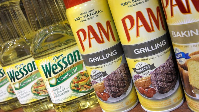 ConAgra products Pam and Wesson Oil are displayed at the Heinen's grocery store in Bainbridge Twp., Ohio on June 21, 2011.