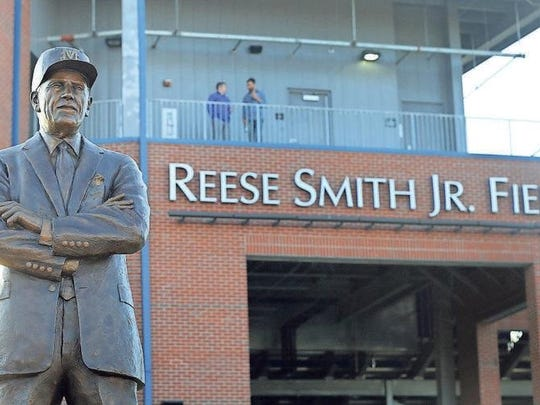 A statue of Reese Smith Jr. in front of MTSU's baseball stadium that bears his name was unveiled on Tuesday.