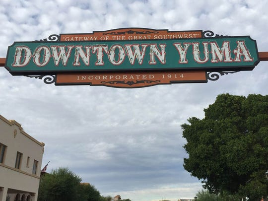 A marquee sign greets visitors on Main Street in Yuma's historic downtown.