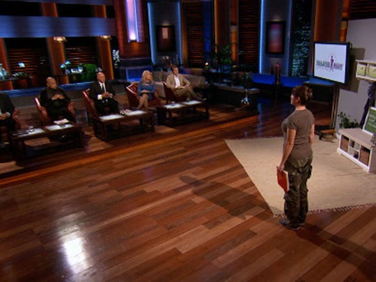 """Angela Cody-Rouget, owner of Major Mom, on the set of ABC's """"Shark Tank."""""""