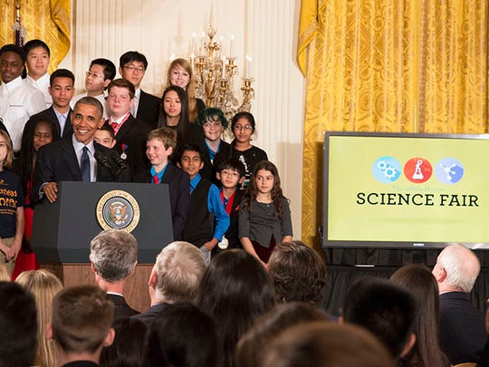 "President Barack Obama praised the more than 100 young scientists and inventors at the White House Science Fair as people who don't accept that's ""just the way things are."""
