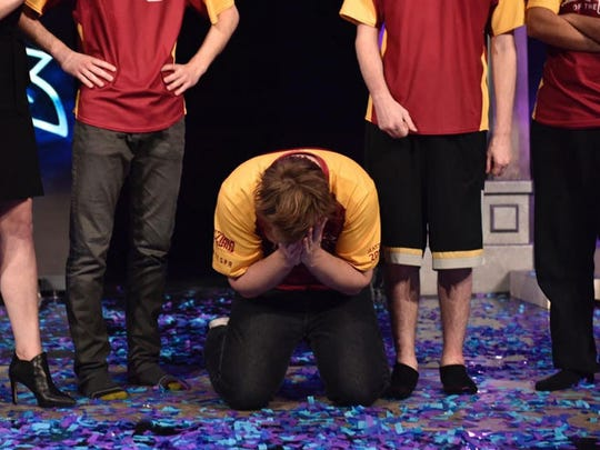 """Austin """"Shot"""" Lonsert, a senior sociology student at Arizona State University, broke down on stage as Real Dream Team celebrated its championship win."""