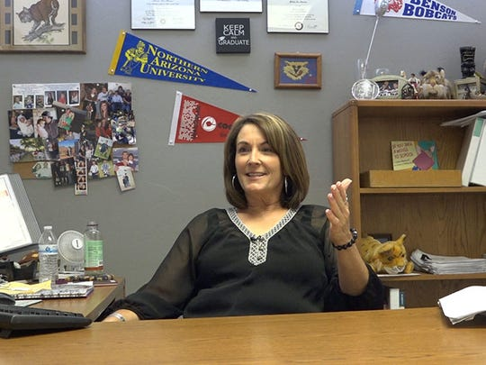 Mindy Sherman, academic guidance counselor at Benson High School, discusses all the programs the school offers to help students prepare for life after high school on Oct. 18, 2016, in Benson, AZ.