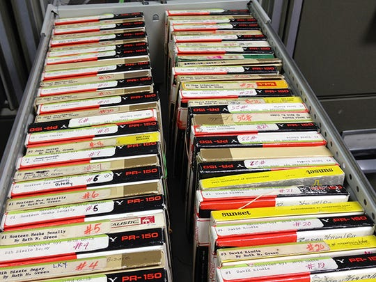 Some of the 300 reels of tape recorded decades ago