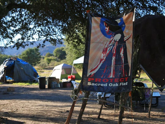 Members of the San Carlos Apache Tribe set up a camp