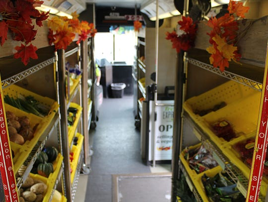 The Fresh Express bus is an old Valley Metro bus outfitted