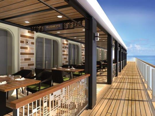 Norwegian Bliss features a boardwalk-like area called