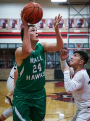 Wall's Colton Chitsey shoots against Ballinger Friday,