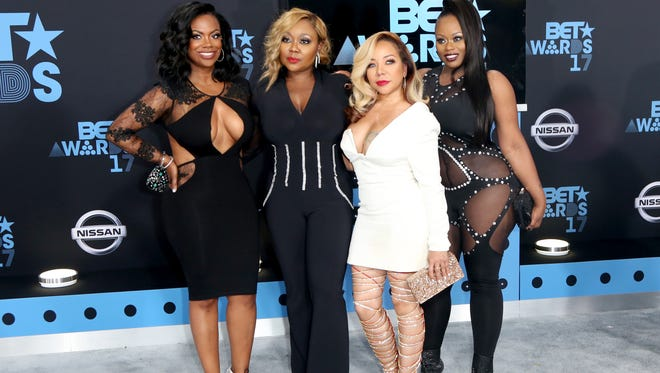 Kandi Burruss, LaTocha Scott, Tameka (Tiny) Harris and Tamika Scott of Xscape at the 2017 BET Awards at Microsoft Square on June 25, 2017 in Los Angeles, California.  (Photo by Maury Phillips/Getty Images)