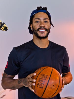 Cleveland Cavaliers point guard Derrick Rose poses for a photo in Los Angeles.